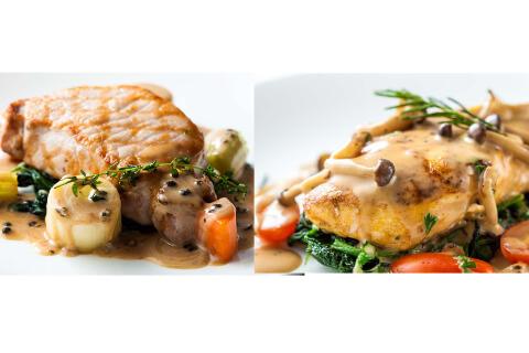 สเต็กหมูและไก่