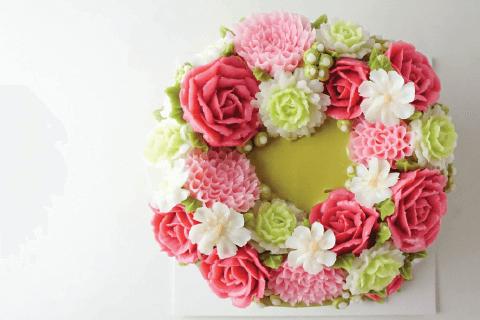 แต่งหน้าเค้กดอกไม้สไตล์เกาหลี